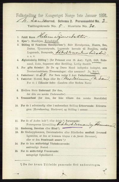 Image from object titled Folketelling 1891 - Nordre Land - personsedler - side 1728