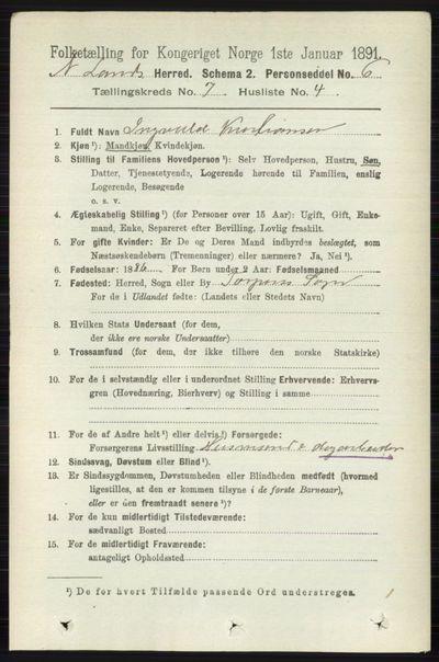 Image from object titled Folketelling 1891 - Nordre Land - personsedler - side 1955