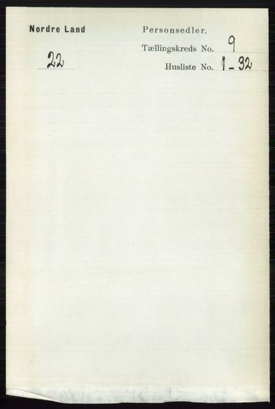 Image from object titled Folketelling 1891 - Nordre Land - personsedler - side 2555