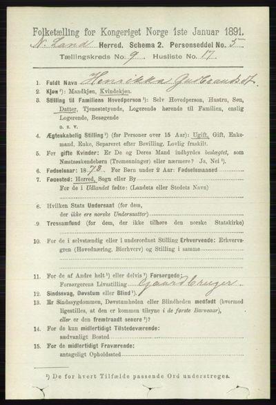 Image from object titled Folketelling 1891 - Nordre Land - personsedler - side 2663