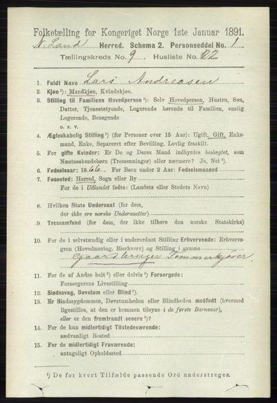 Image from object titled Folketelling 1891 - Nordre Land - personsedler - side 2693