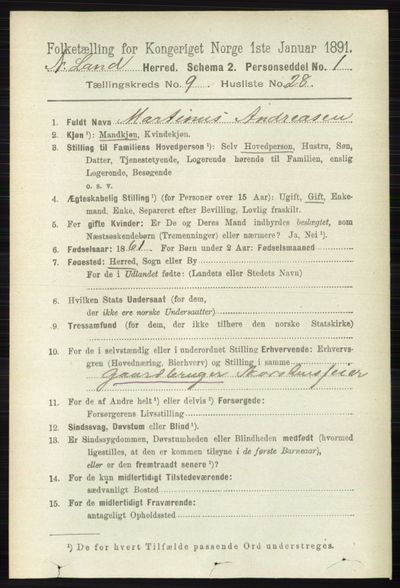 Image from object titled Folketelling 1891 - Nordre Land - personsedler - side 2736