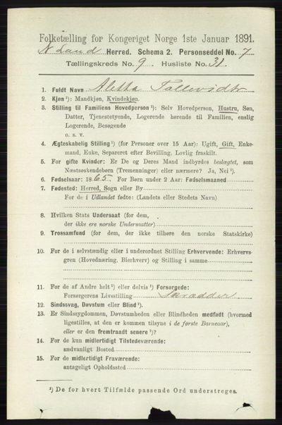 Image from object titled Folketelling 1891 - Nordre Land - personsedler - side 2765