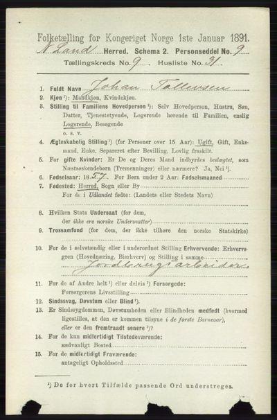 Image from object titled Folketelling 1891 - Nordre Land - personsedler - side 2767