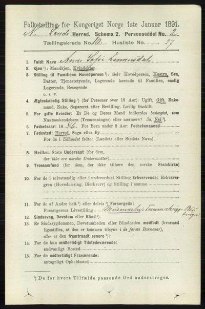 Image from object titled Folketelling 1891 - Nordre Land - personsedler - side 2962