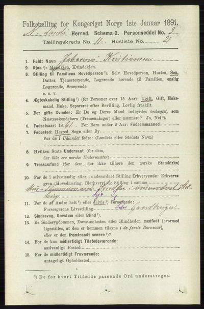 Image from object titled Folketelling 1891 - Nordre Land - personsedler - side 3147