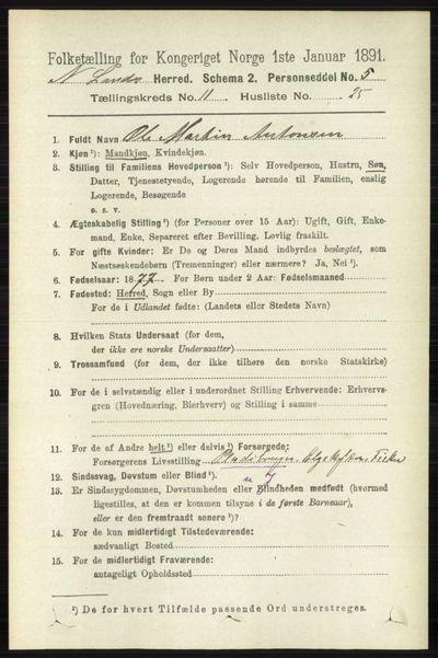 Image from object titled Folketelling 1891 - Nordre Land - personsedler - side 3165