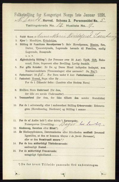 Image from object titled Folketelling 1891 - Nordre Land - personsedler - side 3276