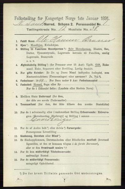 Image from object titled Folketelling 1891 - Nordre Land - personsedler - side 3441