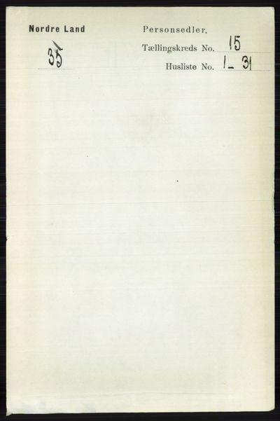 Image from object titled Folketelling 1891 - Nordre Land - personsedler - side 3795