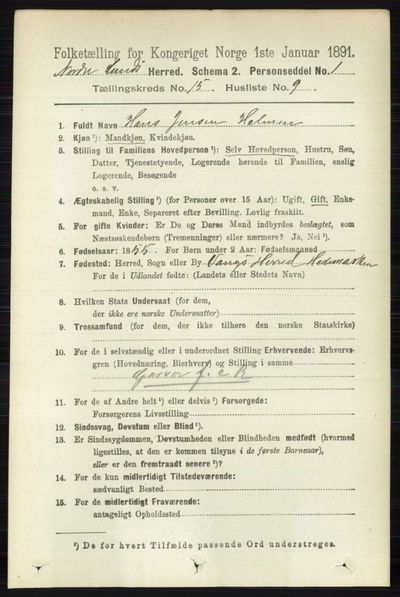 Image from object titled Folketelling 1891 - Nordre Land - personsedler - side 3839