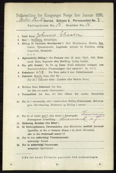 Image from object titled Folketelling 1891 - Nordre Land - personsedler - side 3867