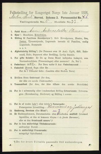 Image from object titled Folketelling 1891 - Nordre Land - personsedler - side 3972