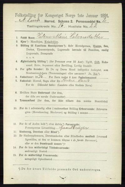 Image from object titled Folketelling 1891 - Nordre Land - personsedler - side 4261