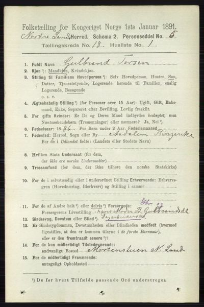 Image from object titled Folketelling 1891 - Nordre Land - personsedler - side 4392