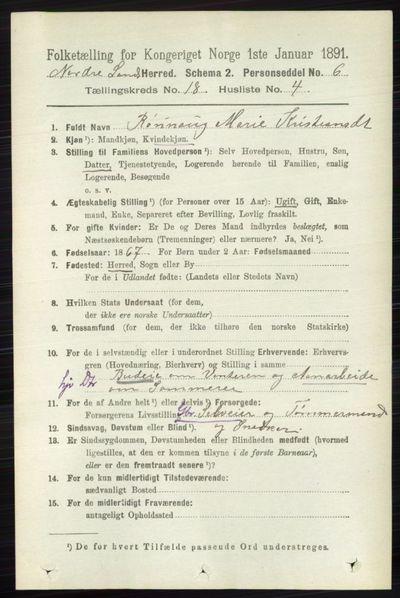 Image from object titled Folketelling 1891 - Nordre Land - personsedler - side 4411