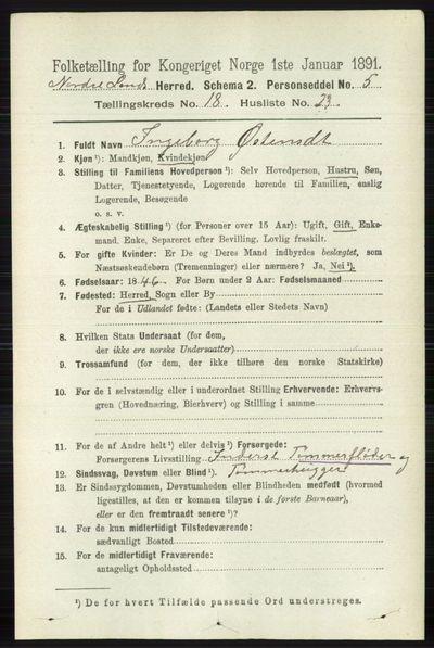 Image from object titled Folketelling 1891 - Nordre Land - personsedler - side 4527
