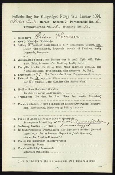 Image from object titled Folketelling 1891 - Nordre Land - personsedler - side 4528