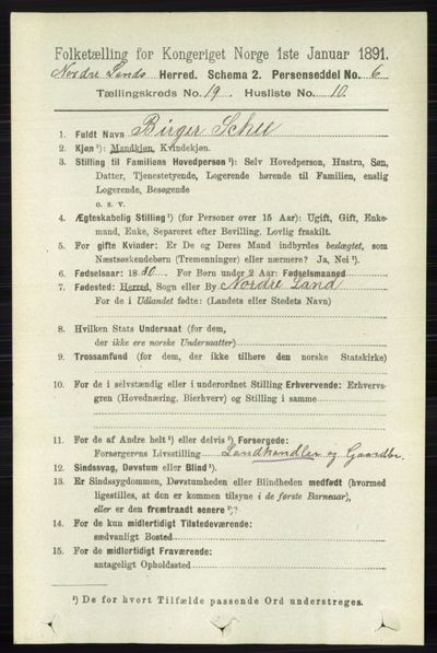 Image from object titled Folketelling 1891 - Nordre Land - personsedler - side 4682