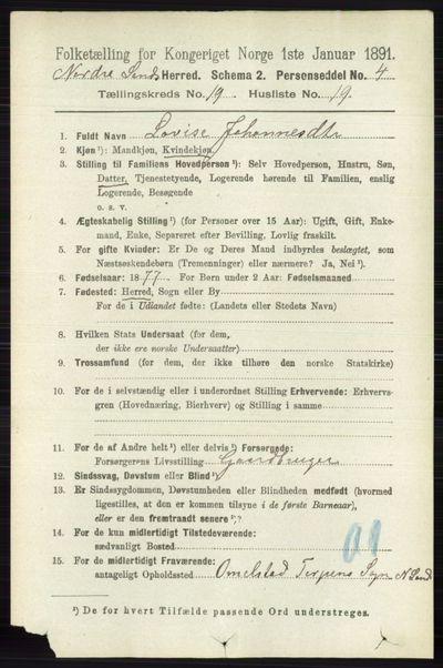 Image from object titled Folketelling 1891 - Nordre Land - personsedler - side 4759