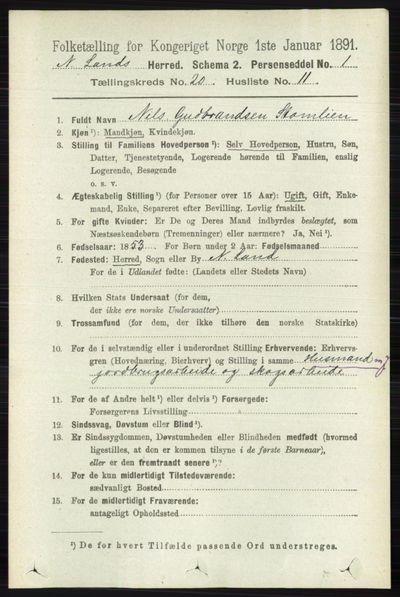 Image from object titled Folketelling 1891 - Nordre Land - personsedler - side 4935