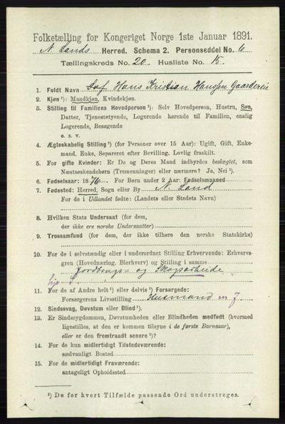 Image from object titled Folketelling 1891 - Nordre Land - personsedler - side 4963