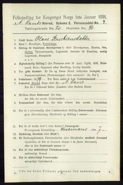 Image from object titled Folketelling 1891 - Nordre Land - personsedler - side 5107