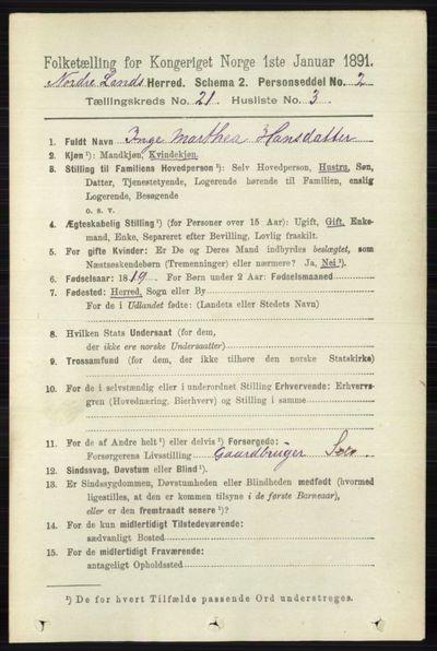 Image from object titled Folketelling 1891 - Nordre Land - personsedler - side 5284