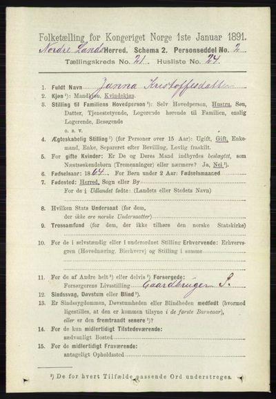 Image from object titled Folketelling 1891 - Nordre Land - personsedler - side 5414