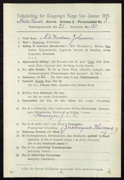 Image from object titled Folketelling 1891 - Nordre Land - personsedler - side 5474