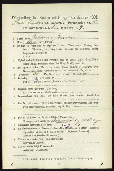 Image from object titled Folketelling 1891 - Søndre Land - personsedler - side 186