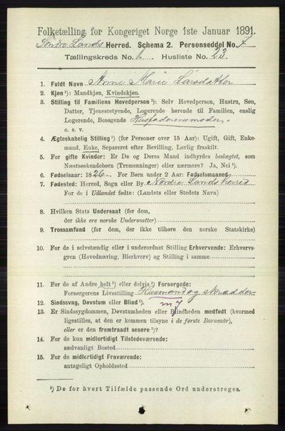 Image from object titled Folketelling 1891 - Søndre Land - personsedler - side 291