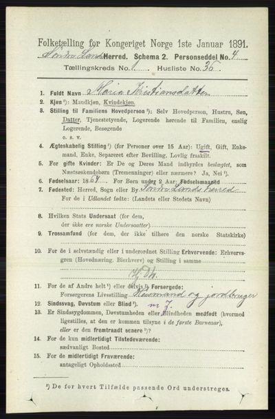 Image from object titled Folketelling 1891 - Søndre Land - personsedler - side 378