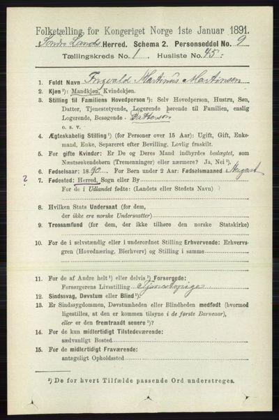 Image from object titled Folketelling 1891 - Søndre Land - personsedler - side 438