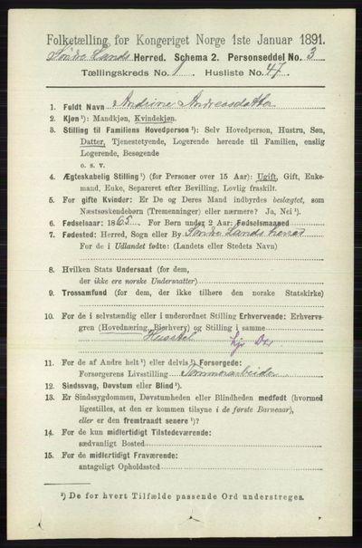Image from object titled Folketelling 1891 - Søndre Land - personsedler - side 448