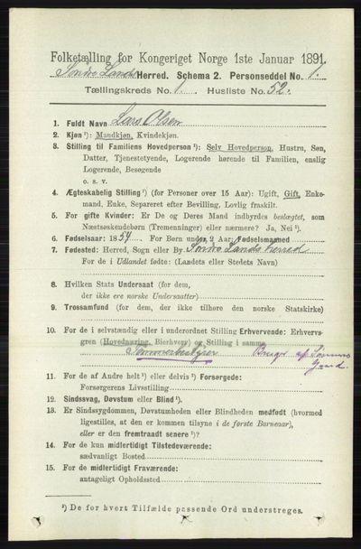 Image from object titled Folketelling 1891 - Søndre Land - personsedler - side 474
