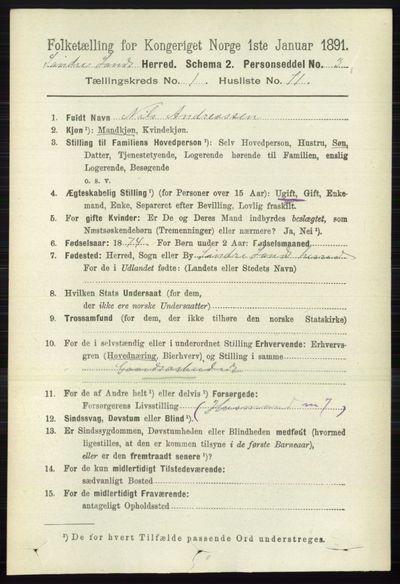 Image from object titled Folketelling 1891 - Søndre Land - personsedler - side 625