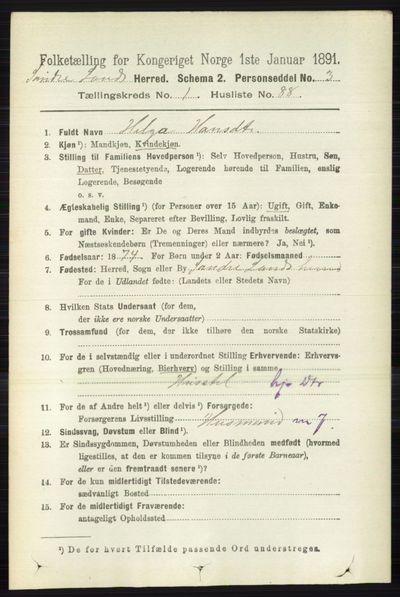 Image from object titled Folketelling 1891 - Søndre Land - personsedler - side 751