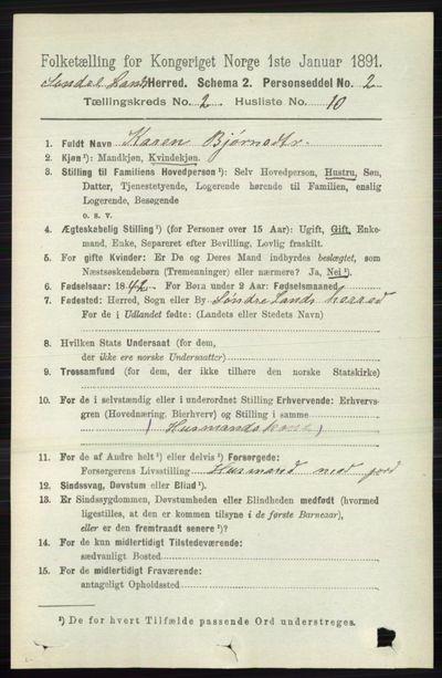 Image from object titled Folketelling 1891 - Søndre Land - personsedler - side 1091