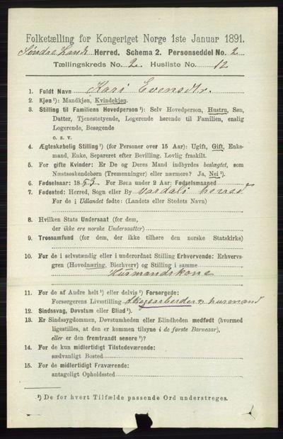 Image from object titled Folketelling 1891 - Søndre Land - personsedler - side 1104