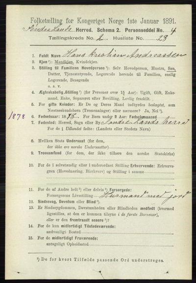 Image from object titled Folketelling 1891 - Søndre Land - personsedler - side 1213