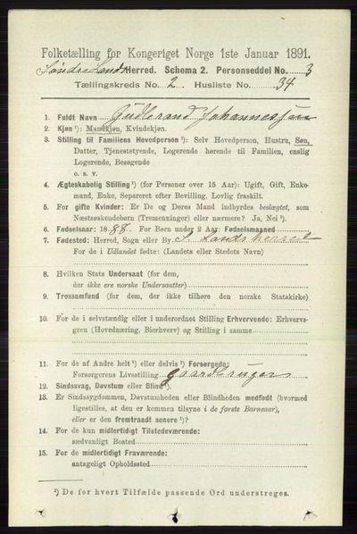 Image from object titled Folketelling 1891 - Søndre Land - personsedler - side 1253