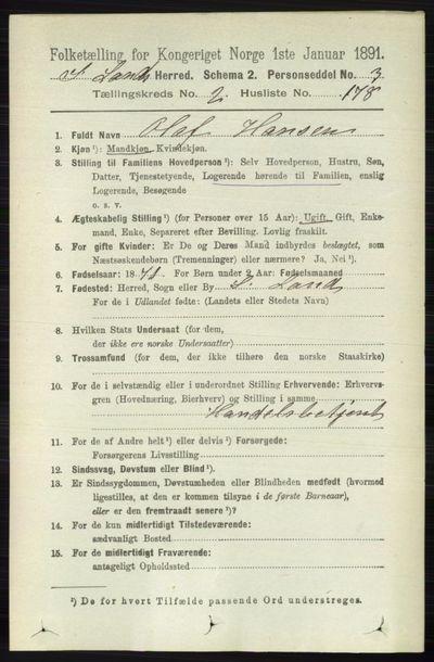 Image from object titled Folketelling 1891 - Søndre Land - personsedler - side 2148