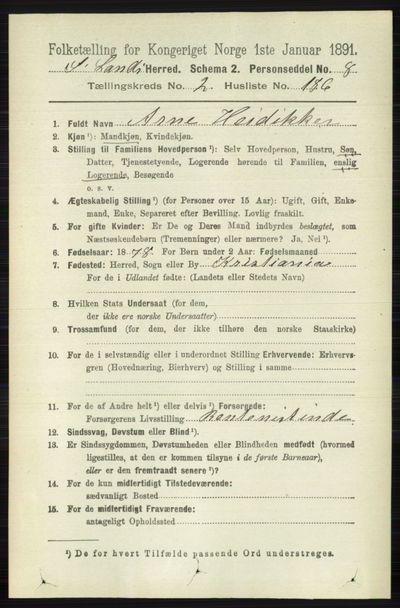 Image from object titled Folketelling 1891 - Søndre Land - personsedler - side 2218