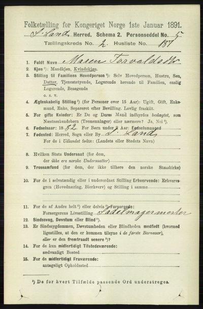 Image from object titled Folketelling 1891 - Søndre Land - personsedler - side 2224