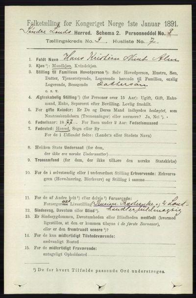 Image from object titled Folketelling 1891 - Søndre Land - personsedler - side 2561