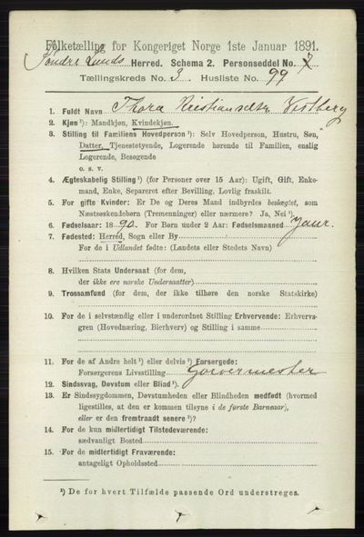 Image from object titled Folketelling 1891 - Søndre Land - personsedler - side 3105