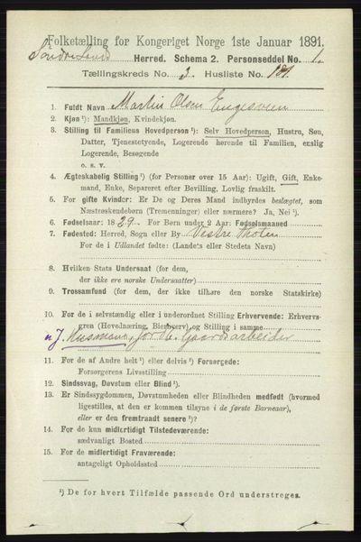 Image from object titled Folketelling 1891 - Søndre Land - personsedler - side 3597