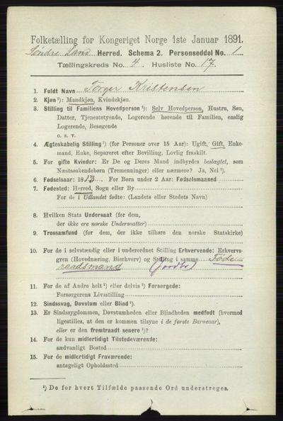 Image from object titled Folketelling 1891 - Søndre Land - personsedler - side 4089