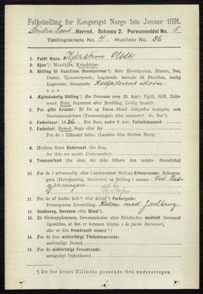 Image from object titled Folketelling 1891 - Søndre Land - personsedler - side 4202